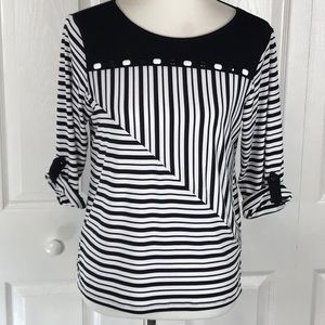 Alfred Dunner Petite Small Striped Stretch Top